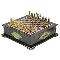 """Шахматный ларец из камня с бронзовыми фигурами """"Римские"""""""