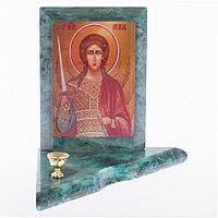 Икона с подсвечником Архангел Михаил малая змеевик 9,5х9,5х10 см