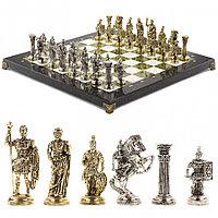 """Настольные шахматы """"Римские воины"""" 44х44 см из камня с металлическими фигурами"""