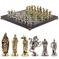 """Шахматы подарочные с металлическими фигурами """"Рыцари крестоносцы"""" 44х44 см из камня змеевик"""