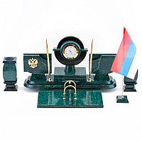 Настольный набор с символикой России из змеевика