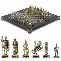 "Шахматы ""Римские воины"" 28х28 см из змеевика"