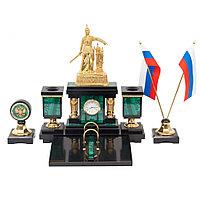 """Настольный набор """"Россия"""" малахит и долерит"""