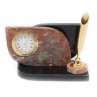 Настольная визитница с часами из камня креноид