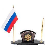 Визитница с гербом и флагом России креноид