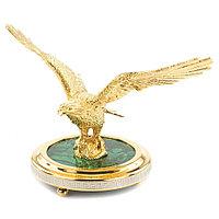 """Декоративная статуэтка """"Парящий орел"""" бронза малахит в подарочной коробке Златоуст"""