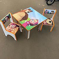 Детский стол с двумя стульчиками Маша и медведь