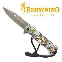 Нож складной Browning FA-47 с принтом (Волк)