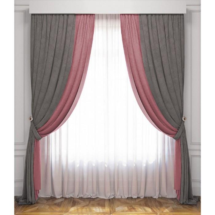 Комплект штор «Латур», серо-розовый, 100% полиэстер