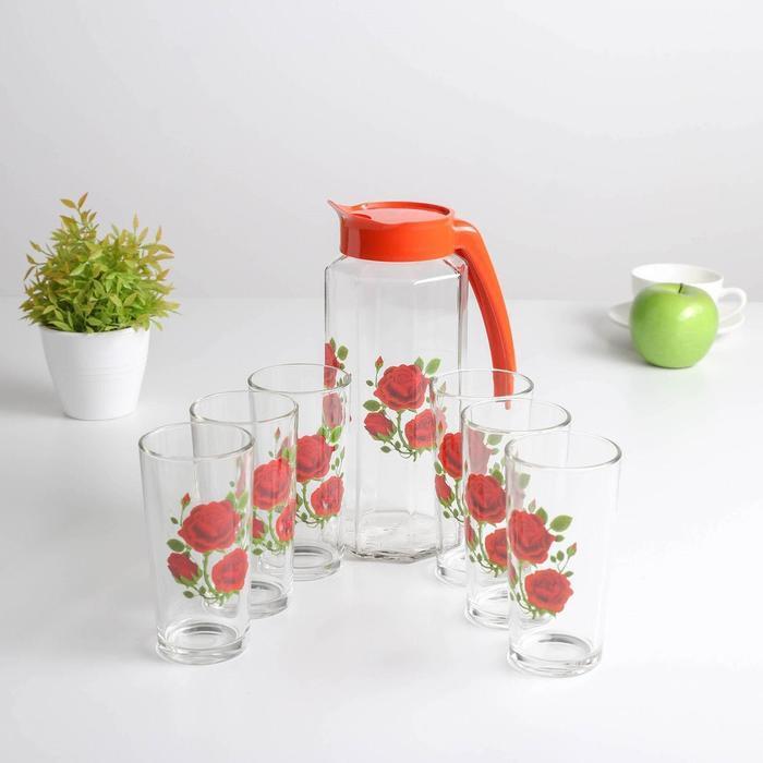 Набор питьевой «Алая роза», 7 предметов: кувшин 1 л, стакан 230 мл 6 шт
