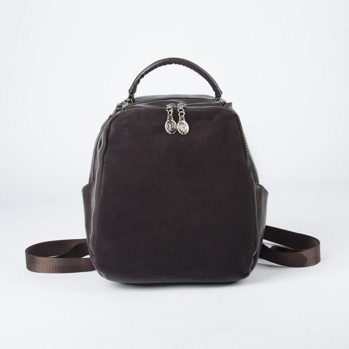 Рюкзак молод L-9767, 24*13*29, замша, 2 отд на молнии, 3 н/кармна, коричневый