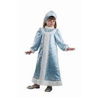 Детский карнавальный костюм 'Снегурочка шёлковая', (платье, кокошник), размер 34, рост 134 см