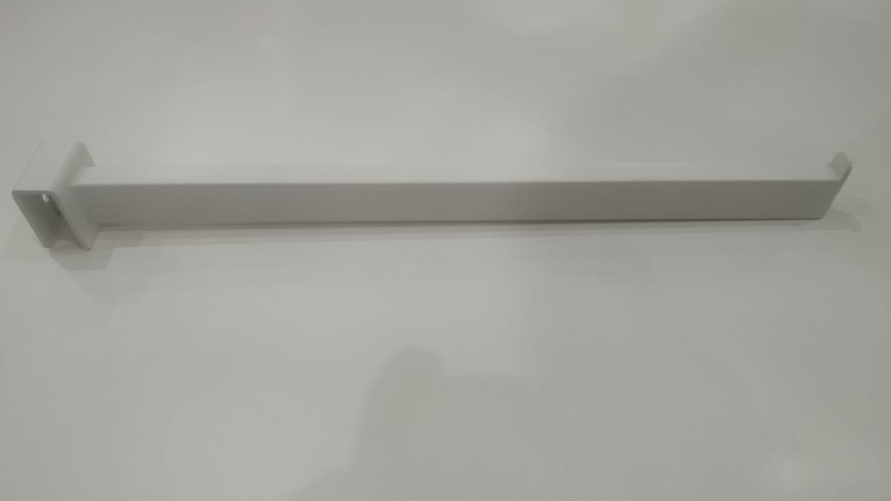 Кронштейн на квадратную трубу белый, прямоугольная труба, L=350mm, S=12,5*25mm, прямой, 1 пластина