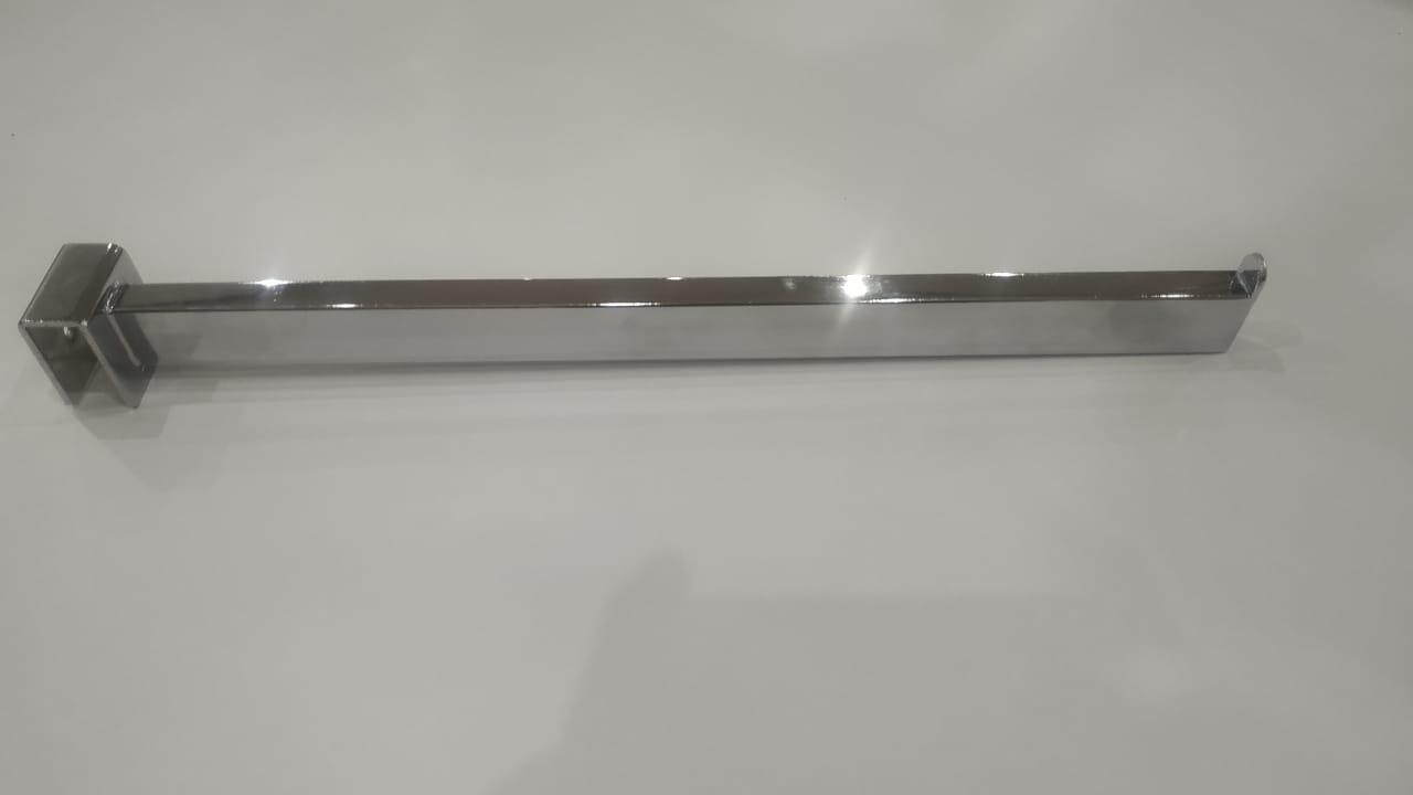 Кронштейн на квадратную трубу хром, прямоугольная труба, L=350mm, S=12,5*25mm, прямой, 1 пластина