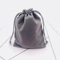 Бархатная сумочка с кулиской (серая)