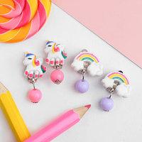 Клипсы детские 'Выбражулька' единороги и радуга, форма МИКС, цвет МИКС (комплект из 2 шт.)