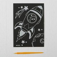 Лунная гравюра 'Ракета в космосе' 14,8х21 см