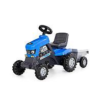Каталка-трактор с педалями Turbo (синяя) с полуприцепом