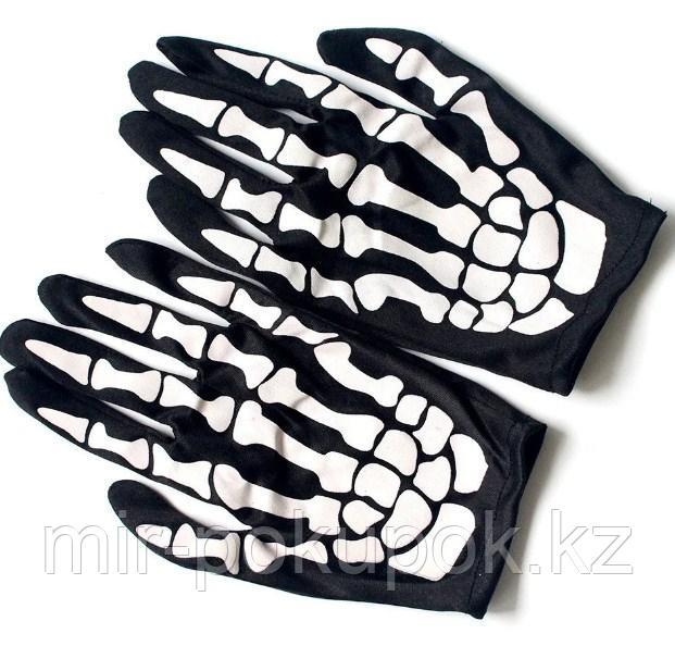 """Черные перчатки """"СКЕЛЕТ"""" детские ( 15 см )"""
