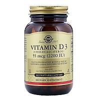 Витамин Д3, 55 мкг (2200 ME), Solgar, 100 капсул