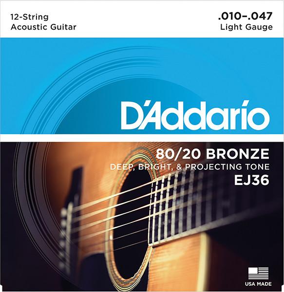 EJ36 BRONZE 80/20 Струны для акустической 12-струнной гитары бронза 12-srt Light 10-47 D`Addario