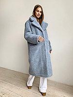 Шуба из натуральной стриженой овечьей шерсти длина 110 см, прорезные  карманы, голубой цвет
