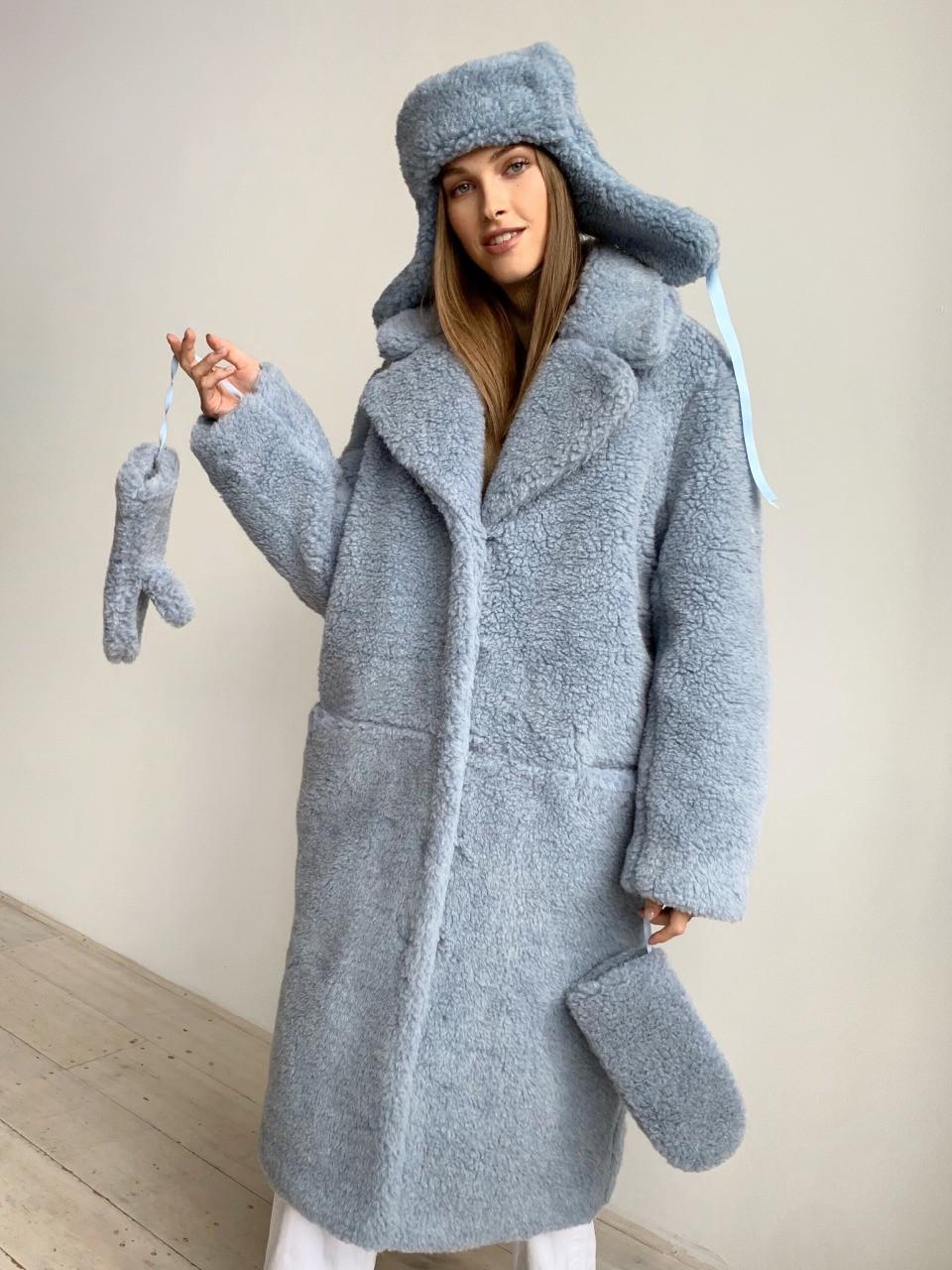 Шуба из натуральной стриженой овечьей шерсти длина 110 см, прорезные карманы, голубой цвет - фото 4
