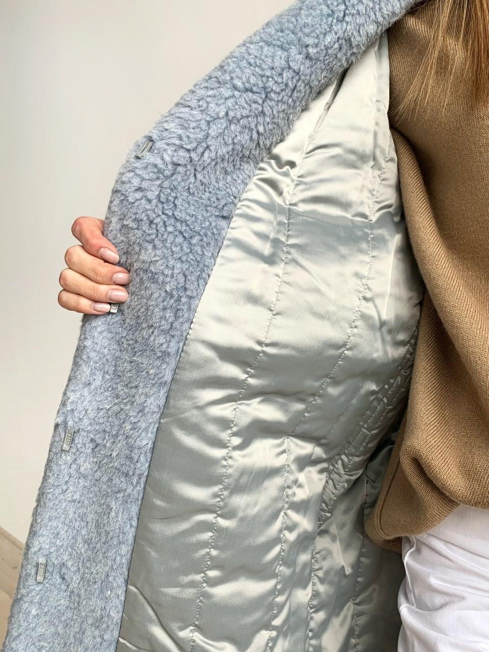 Шуба из натуральной стриженой овечьей шерсти длина 110 см, прорезные карманы, голубой цвет - фото 5