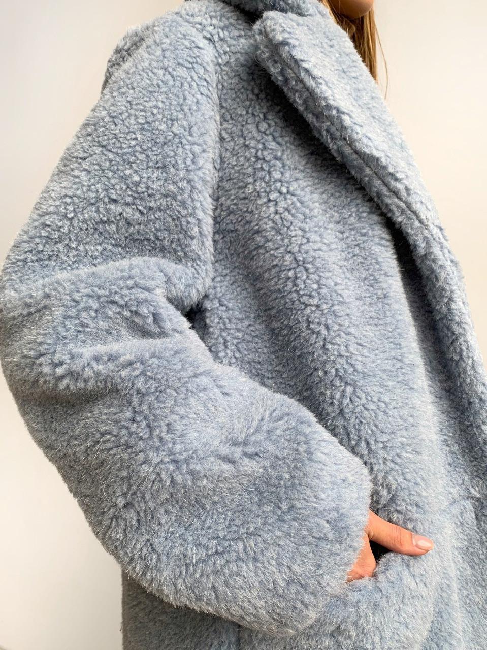 Шуба из натуральной стриженой овечьей шерсти длина 110 см, прорезные карманы, голубой цвет - фото 6