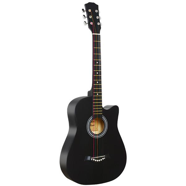 Акустическая гитара, с вырезом, черная, Fante FT-D38-BK