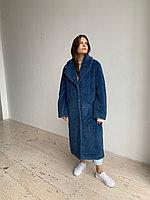 Шуба из натуральной стриженой овечьей шерсти длина 110 см, прорезные  карманы, джинсовый цвет