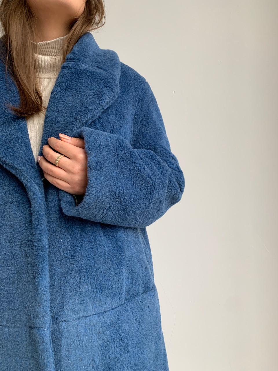 Шуба из натуральной стриженой овечьей шерсти длина 110 см, прорезные карманы, джинсовый цвет - фото 2