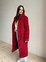 Шуба из натуральной стриженой овечьей шерсти длина 110 см, прорезные  карманы, винный цвет