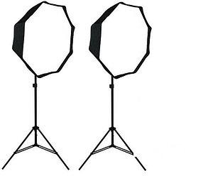 Постоянный свет - 2 октобокса 80 см на стойке с головкой на 4 лампы/160 Ватт