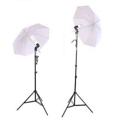 2 зонта 82 см на просвет с патроном с лампой 40 Ватт на стойках, фото 2