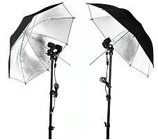 2Х зонта 82 см на отражение с патроном с лампой 40 W / 5500 К на стойках, фото 3