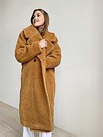 """Шуба из натуральной стриженой овечьей шерсти, длина 115 см, """"кокон"""", горчичный  цвет"""