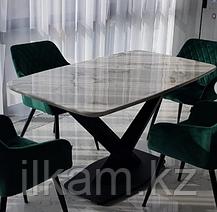 Стол на металлическом каркасе с мраморной столешницей, фото 2