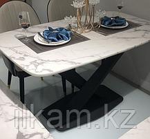 Стол на металлическом каркасе с мраморной столешницей, фото 3