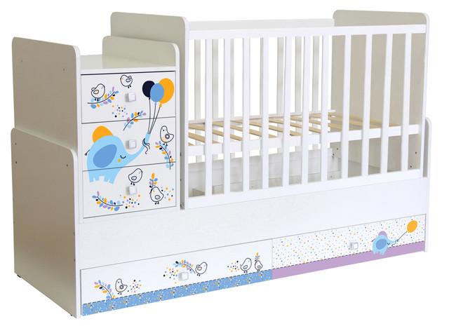 Кроватка-трансформер детская Фея 1100 Слоник на шаре