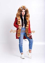 Красная куртка парка с мехом Украинской лисы