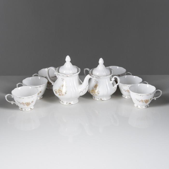 """Сервиз чайный """"Камелия"""" золотая ветка, 8 предметов"""