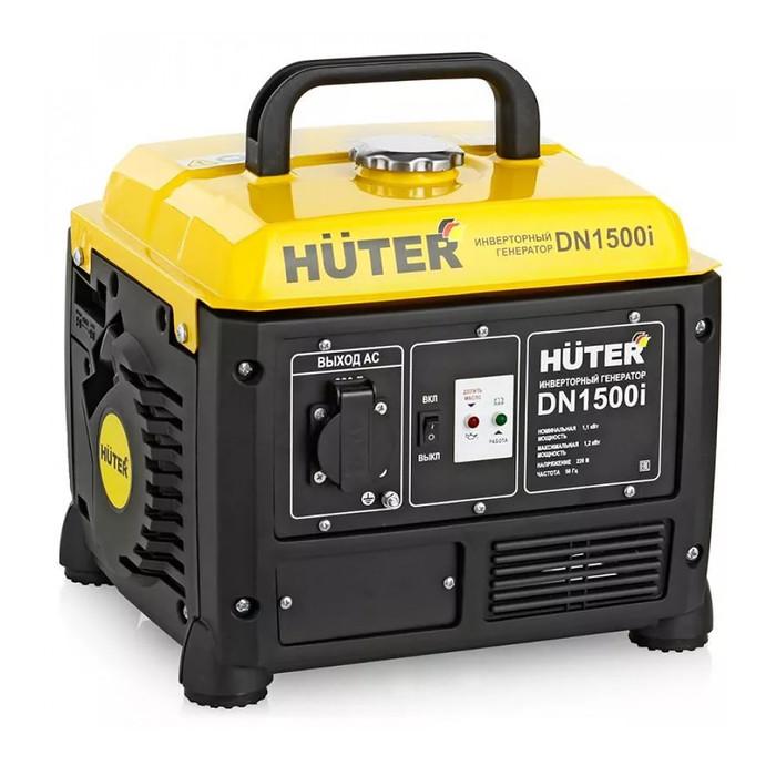 Инверторный генератор Huter DN1500i, 1.1/1.3 кВт, 4.2 л, 220 В, ручной старт