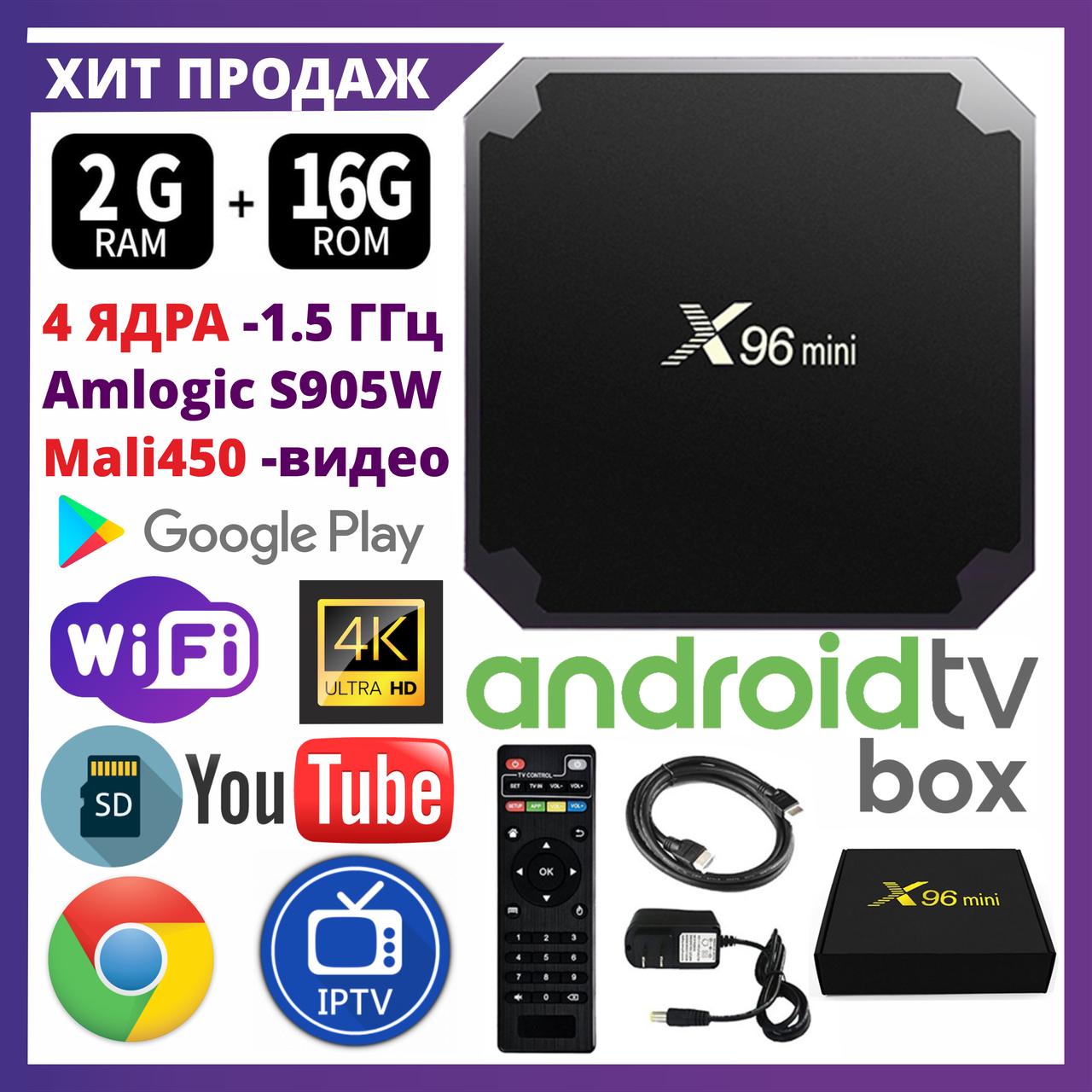 TV Box X96 MINI+ 2/16 Гб, ТВ приставка Smart TV Box Android UHD 4K Rockchip RK3318 smartbox
