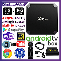 TV Box X96 MINI+ 2/16 Гб, ТВ приставка Smart TV Box Android UHD 4K Rockchip RK3318 smartbox