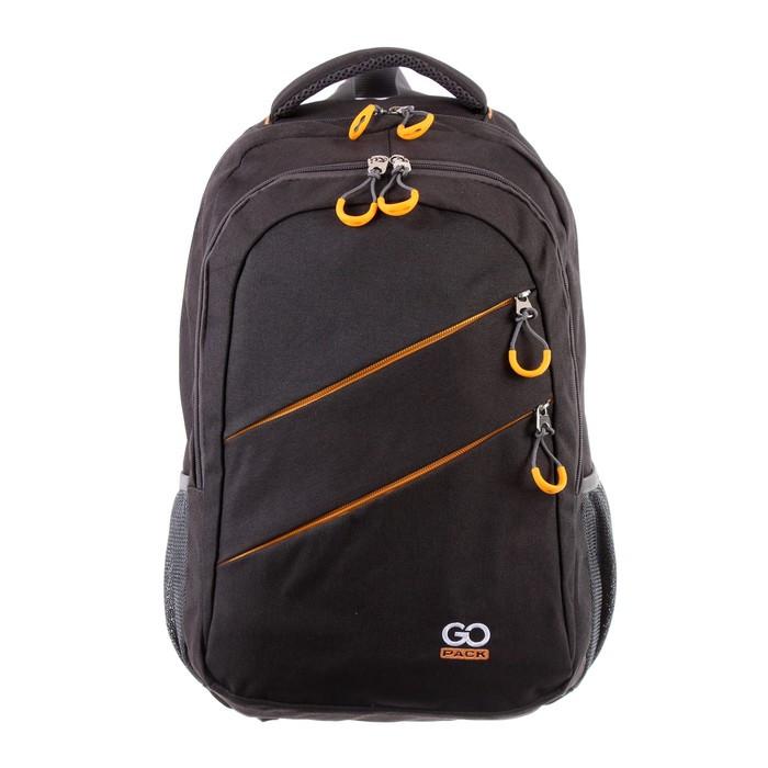 Рюкзак молодёжный с эргономичной спинкой GoPack 110, 50 х 33 х 15, для мальчика Сity, чёрный/жёлтый