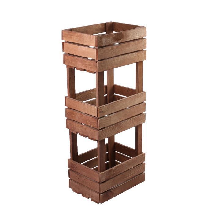Ящик для овощей, 30 × 40 × 100 см, деревянный, трехуровневый