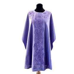 Пальто с художественной вышивкой цвет лаванды