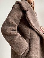 """Шуба из натуральной стриженой овечьей шерсти, длина 115 см, """"кокон"""", кофейный  цвет"""
