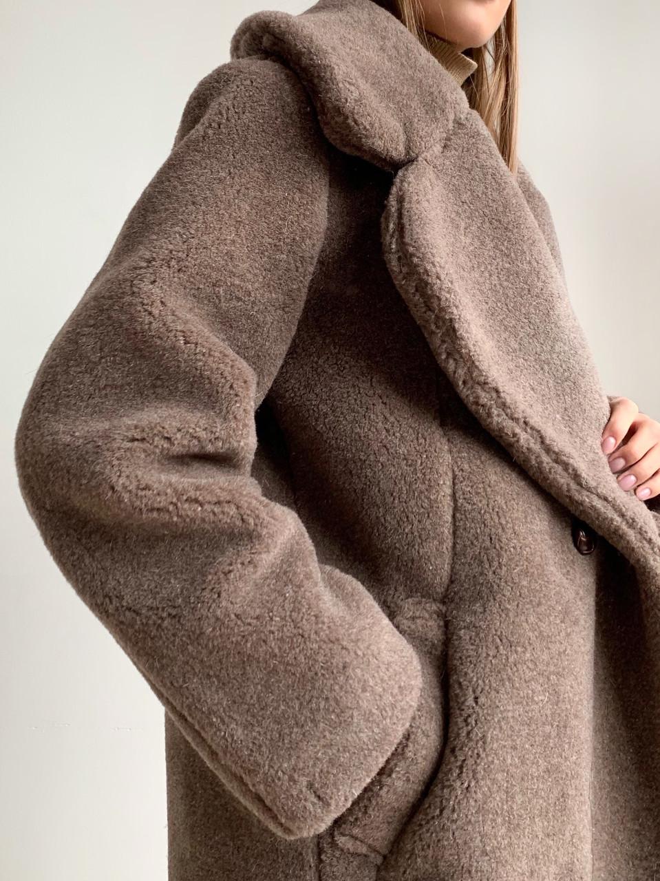 """Шуба из натуральной стриженой овечьей шерсти, длина 115 см, """"кокон"""", кофейный цвет - фото 1"""